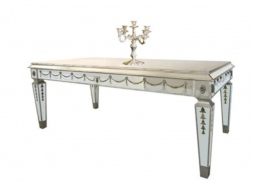 Reverse Hand Painted Silver Mirror - 48 Inch Entry, Center, Sofa Table - Louis XVI Neo Classical Style