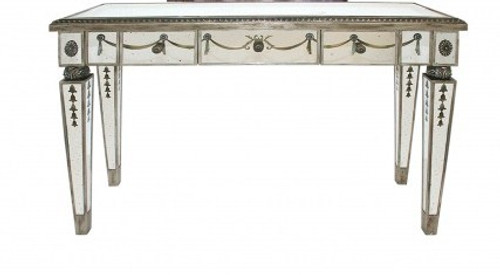 Reverse Hand Painted Silver Mirror - 38 Inch Entry Console or Sofa Table - Louis XVI Neo Classical Style