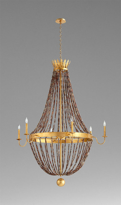 A French Provincial Style - Wood and Wrought Iron - Six Light Chandelier - Gold Leaf Finish