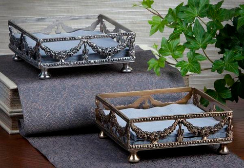 Guirlande de Butin, Swag Garland Indian Brass Holder Pair, 5.5 Inch Square Beverage Napkin Tray Set, Antiqued Silver Finish