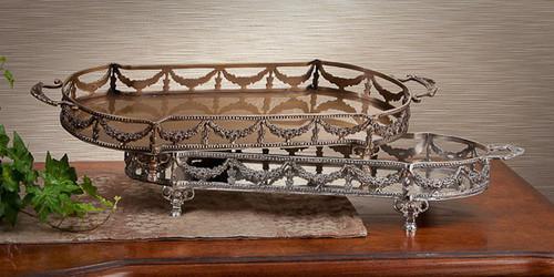 Guirlande de Butin, Swag Garland Indian Brass, 19.5 Inch Oblong Tray, Antiqued Silver Finish