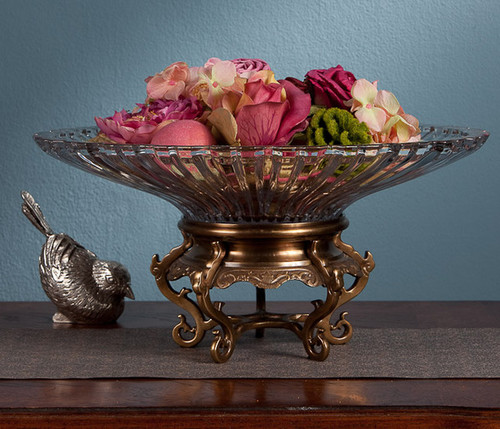 Fluted Pattern, 14 Inch Cut Crystal Bowl | Dish with Brass Stand, Antiqued Brass Finish