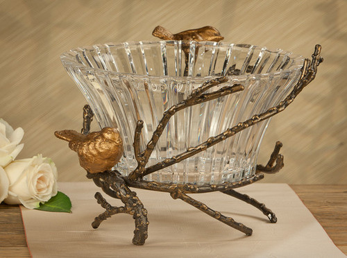 Contemporary Iron 12 Inch Decorative Cut Crystal Bowl | Dish, Iron Finish