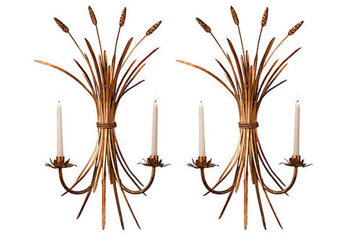 Wheat Bouquet - Iron Taper Candle Holder - 24 Inch Wall Bracket Sconce Pair - Antiqued Gold Finish