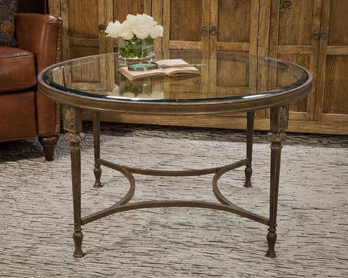Contemporary Aluminum Acanthus - Accent Coffee | Cocktail Table with 30 Inch Round Beveled Glass Top - Antiqued Bronze Finish