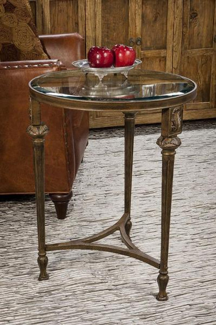 Contemporary Aluminum Acanthus - Accent Side | End Table with 20.5 Inch Round Beveled Glass Top - Antiqued Bronze Finish