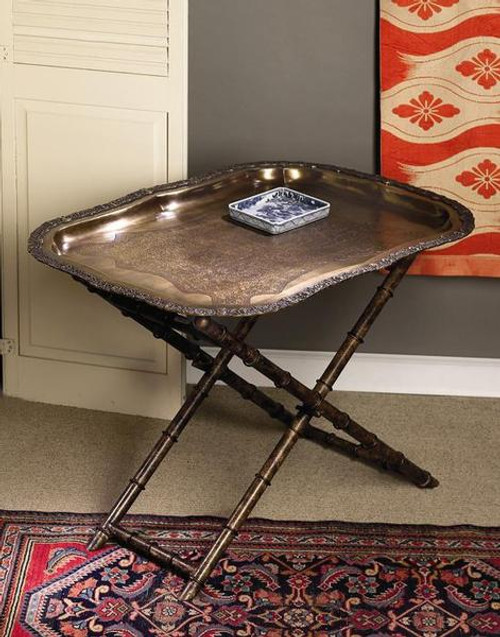 Indian Brass Tray and Iron Bamboo Stand, 30 inches Long & 22 inches Tall- Antiqued Brass Finish