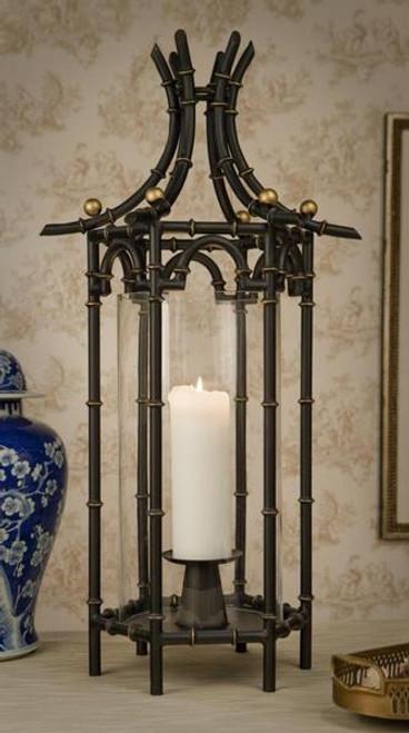 Iron Bamboo, Hexagonal Pagoda Pillar Candle Holder, 31 Inch Hurricane Lamp, Ebony Black Finish with Antiqued Gold Accents