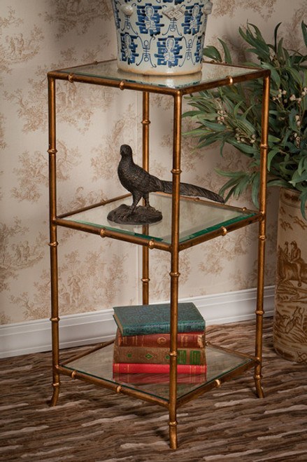 Iron Bamboo - Three Tier Beveled Glass Etagere - 31 Inch Square Shape - Antiqued Gold Finish