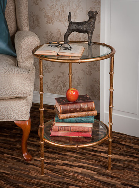 Iron Bamboo - Accent Side | End Table with Beveled Glass Top - 15.5 Inch Round Shape - Antiqued Gold Finish