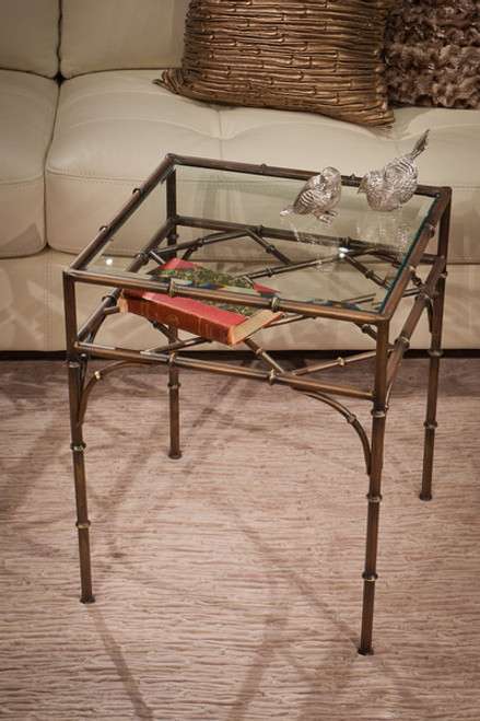 Iron Bamboo - Accent Side | End | Lamp Table with Beveled Glass Top - 22 Inch Square Shape - Bronze Finish
