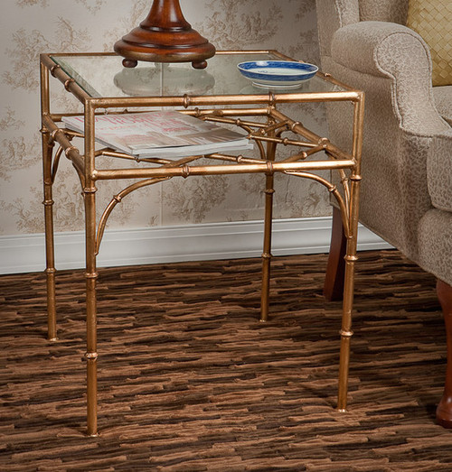 Iron Bamboo - Accent Side | End | Lamp Table with Beveled Glass Top - 22 Inch Square Shape - Antiqued Gold Finish
