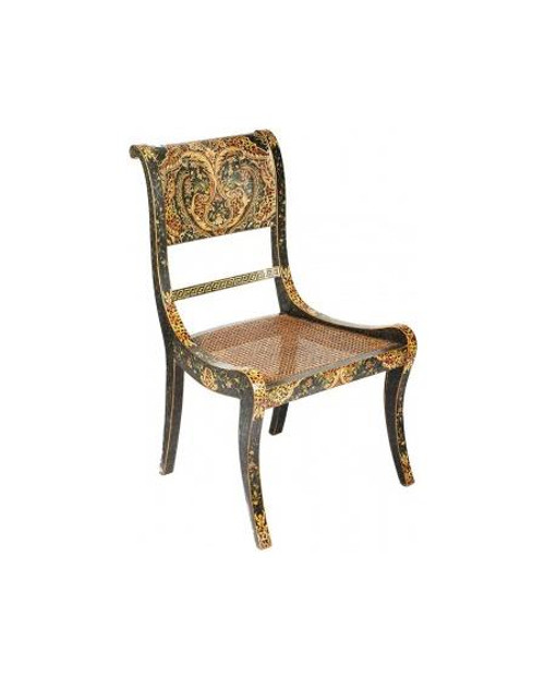 Luxe Life Louis XVI Style, Neo Classical - Hand Painted 35 Inch Occasional | Accent | Side Chair - Spotted Leopard Print Design