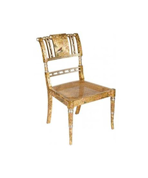 Luxe Life Louis XVI Style, Neo Classical - Hand Painted 35 Inch Occasional | Accent | Side Chair - Metallic Gold Leaf Nature Design