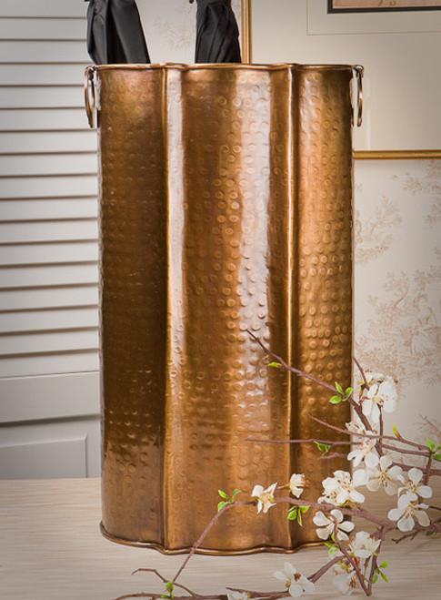 Hammered Serpentine, Indian Brass Umbrella Storage Vase, 19 Inch Stand, Antiqued Brass Finish