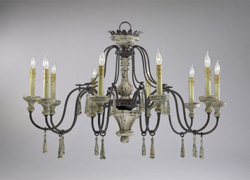 A French Country Style - Wrought Iron - Ten Light Chandelier - Shabby Chic | Carriage Barn Finish