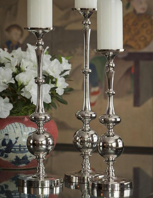 Contemporary Ovals & Orb, Indian Aluminum Pillar Candle Holder Pair, 15.5 Inch Classic Candlestick, Nickel Finish
