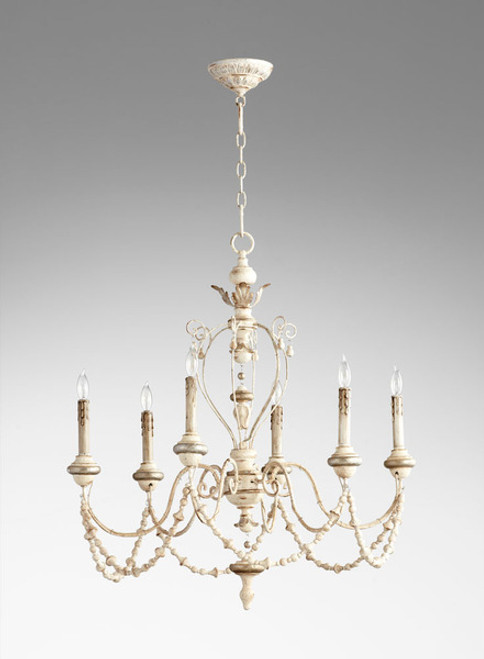 A French Country Style - Wood and Wrought Iron - Six Light Chandelier - Distressed Shabby Chic Finish with Silver Accents