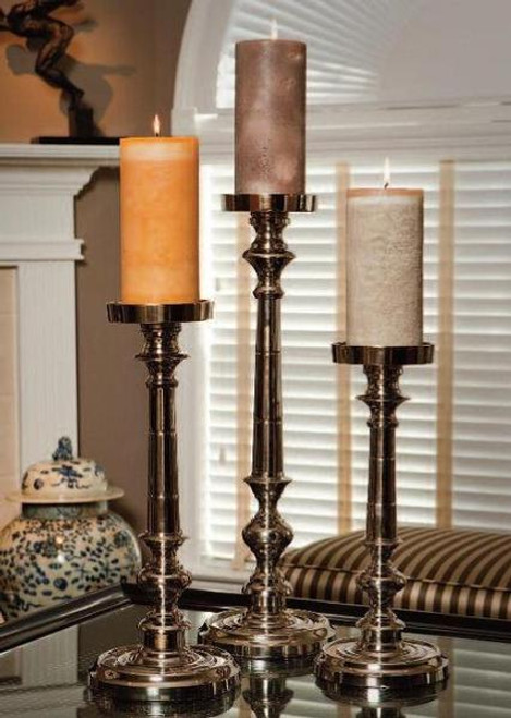 Contemporary, Brass Pillar Candle Pair, 25 Inch Classic Candlestick, Silver Finish