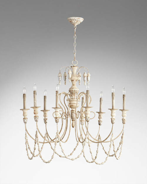 A French Country Style - Wood and Wrought Iron - Nine Light Chandelier - Distressed Shabby Chic Finish with Silver Accents