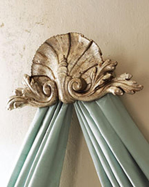 "Classic Elements, Coquille de mer et Acanthus, 23"" Sea Shell and Acanthus Bed Canopy Crown 