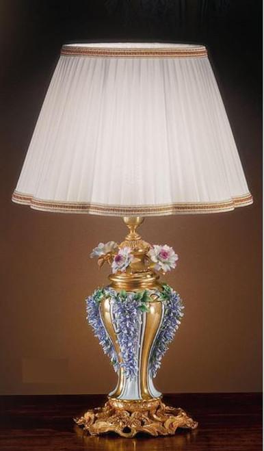 European Reproduction Porcelain Flower Gardens Tabletop Lamp in Gilt Bronze Ormolu - 29.52 Inch - 24 Karat Gold Finish