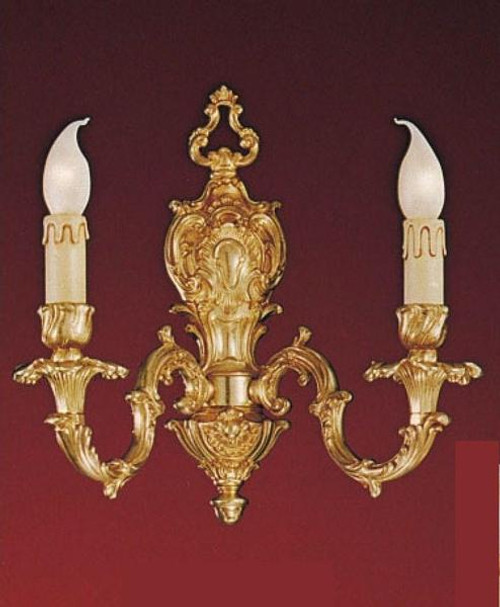 European Reproduction - 18th Century Style, French Regence Wall Bracket Sconce Pair in Gilt Bronze Ormolu - 2 Arm, 14.17 Inch - 24 Karat Gold Finish