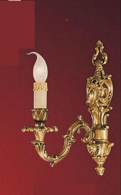 European Reproduction - 18th Century Style, French Regence Wall Bracket Sconce Pair in Gilt Bronze Ormolu - 1 Arm, 13.38 Inch - 24 Karat Gold Finish