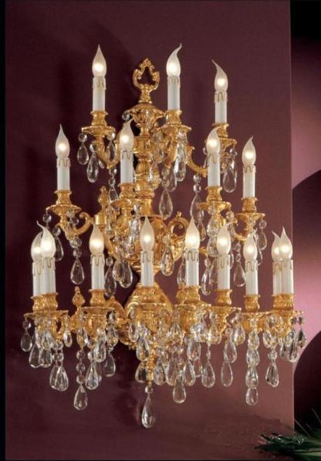 European Reproduction Louis XV Rococo Wall Bracket Sconce in Gilt Bronze Ormolu, Austrian Scholer Crystal - 39.30t x 29.52w x 17.71d   C Scroll Design with 24 Karat Gold Finish   4031