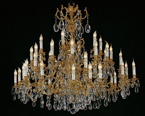 European Reproduction Louis XV Rococo Chandelier in Gilt Bronze Ormolu, Austrian Scholer Crystal - 59 Inch - C Scroll Design with 24 Karat Gold Finish