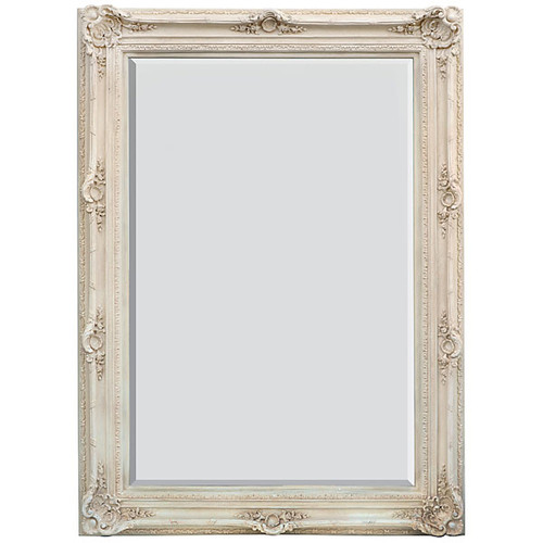 A Rococo Louis XV - 87t X 64w Bevel Glass - European Style Floor Mirror - Shabby Chic White Finish, 6915
