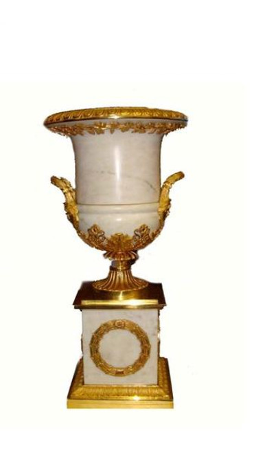 European Reproduction Gilt Bronze Ormolu, 24.40 Inch Marble Trophy Cup Urn | Vase Pair with Plinth, 24K Gold Finish