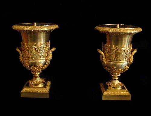 European Reproduction Gilt Bronze Ormolu, 17.71 Inch Trophy Cup Urn | Vase Pair, 24K Gold Finish