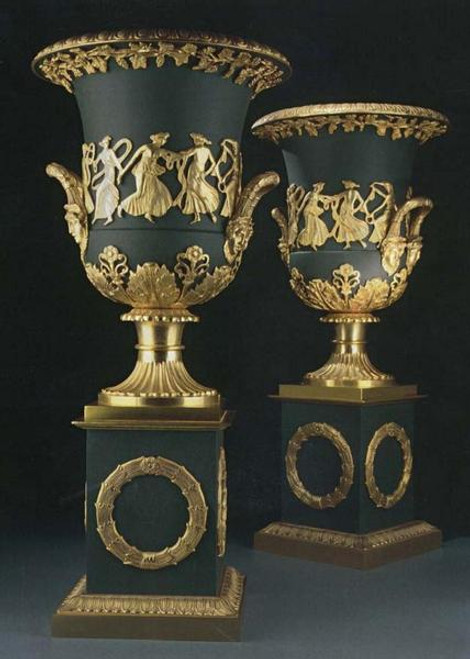 European Reproduction Gilt Bronze Ormolu, 24.40 Inch Trophy Cup Urn | Vase Pair with Plinth, 24K Gold and Polychrome Finish