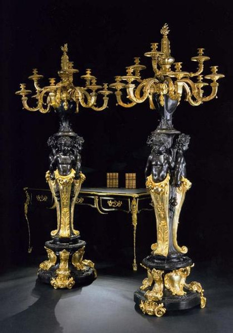 Grande Baroque, European Reproduction Gilt Bronze Ormolu, 86.58 Inch Floor | Palace Candelabra Pair, Polychrome, 24K Gold Finish