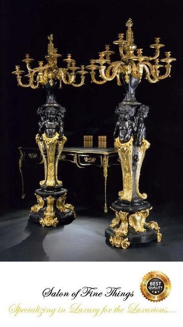 European Reproduction Gilt Bronze Ormolu, 86.58 Inch Floor | Palace Candelabra Pair, 24K Gold and Polychrome Finish, 4019
