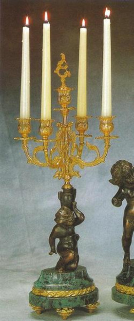 """Verde Delle Alpi Italian Marble and Brass Ormolu 22.04"""", 5 light Candelabra Right and Left Facing Set, French Gold Gilt - Handmade Reproduction of a 17th, 18th Century Dore Bronze Antique, 4012"""