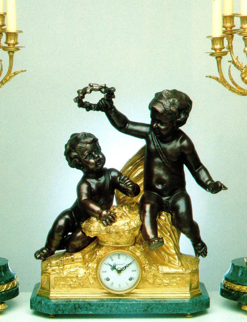 "Verde Delle Alpi, Green Italian Marble and Brass Ormolu, 22.04"" Mantel Clock, French Gold Gilt Patina - Handmade Reproduction of a 17th, 18th Century Dore Bronze Antique, 4009"
