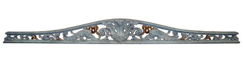 A Classic Elements 77w x 8t, French Blue, Antiqued Gilt, Acanthus and Scroll Wall Plaque Over Door Pediment, Customizable