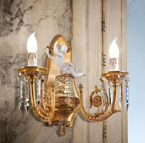 European Reproduction Rococo Wall Bracket Sconce in Gilt Bronze Ormolu - Porcelain Bisque Putto accent and Swarovski Strass Crystal - 15.75 inches and 24 Karat Gold Finish 3972
