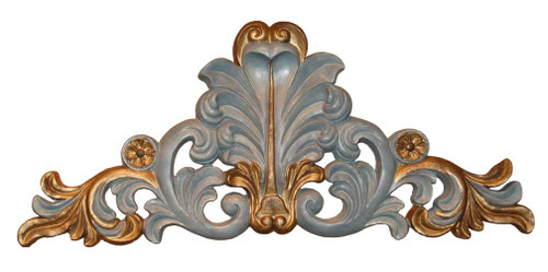 A Classic Elements 18w x 8t, French Blue, Antiqued Gilt, Acanthus, Rosette and Flourish Wall Plaque Over Door Pediment, Customizable