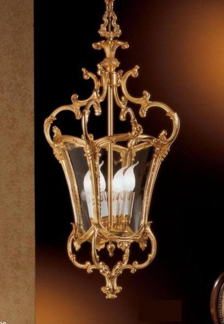 European Reproduction Four Light Gilt Bronze Ormolu and Glass - 33.07 Inch Pendant Chandelier 3963