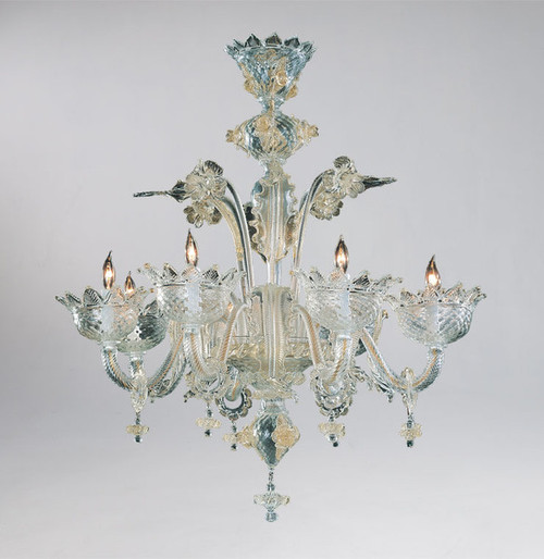 Daffodil Bella Pattern - Ice and Golden Teak Eight Light Chandelier