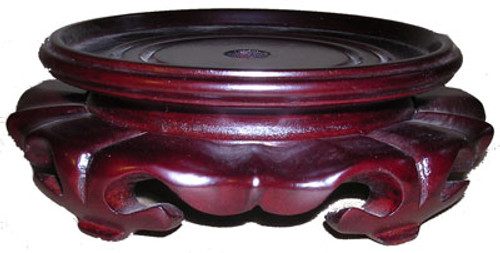 Fancy Low Profile Carved Wood Lotus Stand for Porcelain, 09.5 Inch Seat