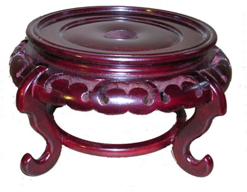 Fancy Wooden Stand for Porcelain, 03.5 Inch Seat, Carved Wood Pedestal
