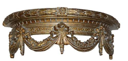 "Classic Elements, La Couronne de Demulune de butin, 20"" Demilune Bed Canopy Crown | Cornice | Valence with Tie backs, Custom Finish 6891 - Classic Elements - Demilune Bed Canopy Crown - Cornice | Valance"