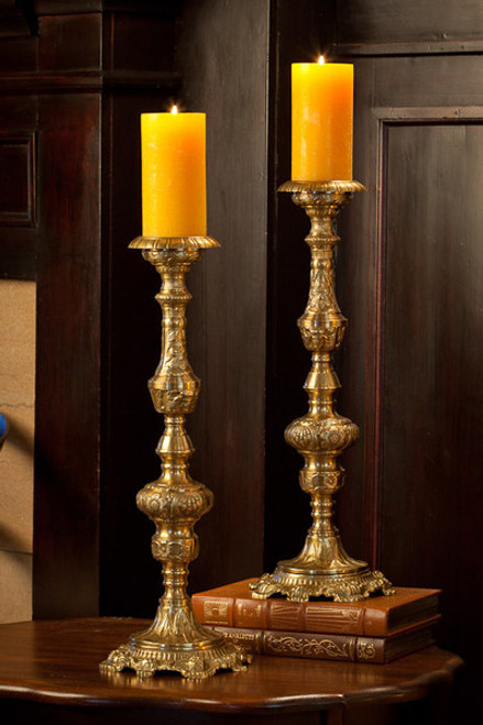 Grand Baroque, Indian Brass Pillar Candle Holder Pair, 20 Inch Classic Candlestick, Antique Brass Finish