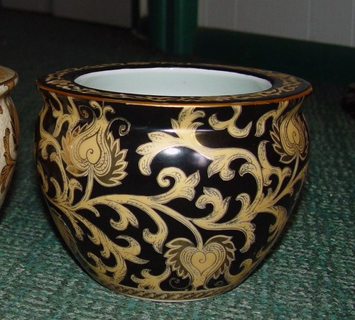 Ebony Black and Gold Lotus Scroll - Luxury Handmade Reproduction Chinese Porcelain - 08 Inch Fish Bowl | Planter Style 35