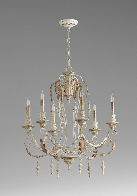French Country Style - Wrought Iron and Wood Six Light Chandelier - Distressed French White Finish 6870 DYC