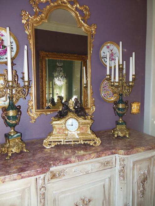 A Porcelain, Victor Hugo, d'Oro Ormolu Mantel Clock - French Gold, Polychrome Patina - Handmade Reproduction of a 17th, 18th Century Dore Bronze Antique, 3503